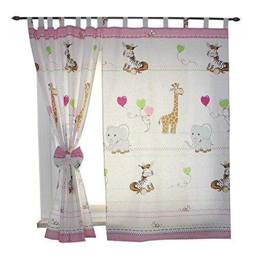 Tuptam tende con bracciali per camerette per bambini 2 pz, animali rosa, c. 155x95 cm