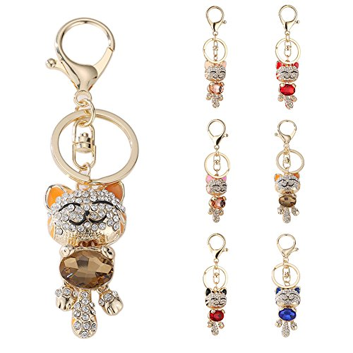 San Bodhi® Lucky Cat Rhinestones Car Keychain Key Ring Bag Pendant Hanging Ornament Gifts