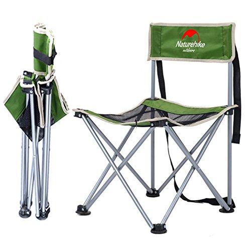 Sanva, sedia da campeggio pieghevole, sedia da pesca con marsupio, portata fino a 150kg, aste in metallo resistente, leggero e piccolo ingombro, ideale per campeggio, pesca, escursioni, picnic, verde