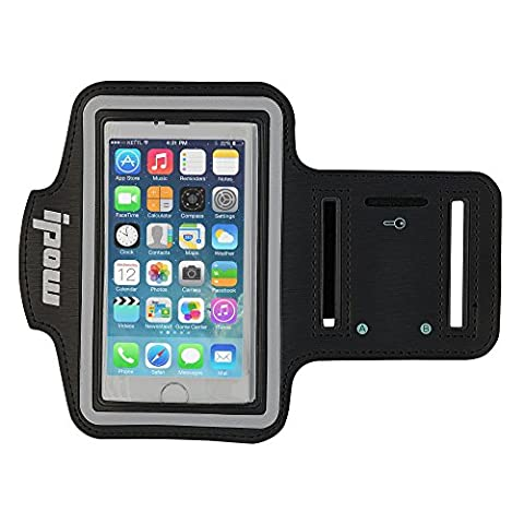 IPOW Black iPhone 5/5s/5c iPod Touch 5 Sport Armband Belt Strap Band Sleeve Case Cover Pouch + Key Holder for Running Jogging Gym Cycling Workout