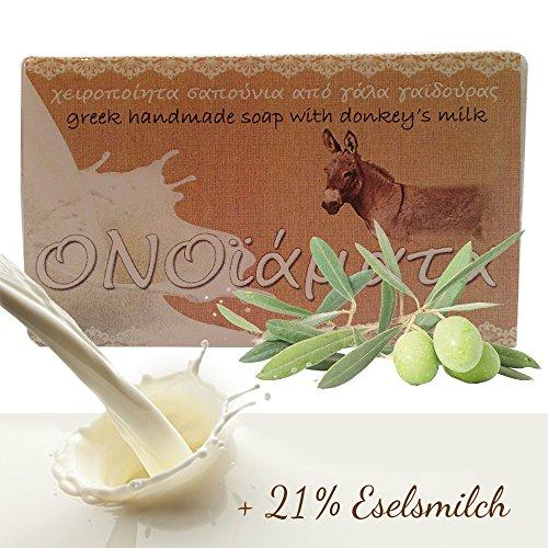 Eselsmilchseife Original 100 g mit 21 % Eselsmilch und Olivenöl ohne Wasser handgefertigte griechische Seife zur Körperpflege
