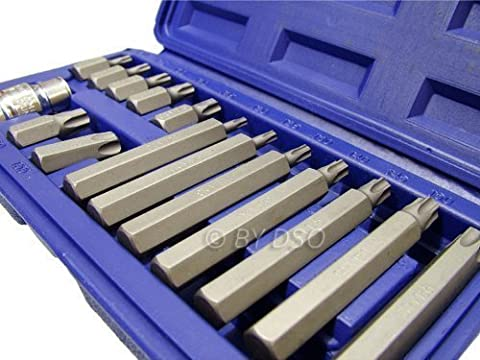 Professional 15 Piece Star Bit Set with 1/2 Drive Adapter SD129 by Toolzone