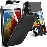 ONX3 Motorola Moto G 2nd Generation Black PU-Leder Flip Mit 3 Kredit / Bankkarte Slot Hülle Tasche mit LCD-Display Schutzfolie und Poliertuch
