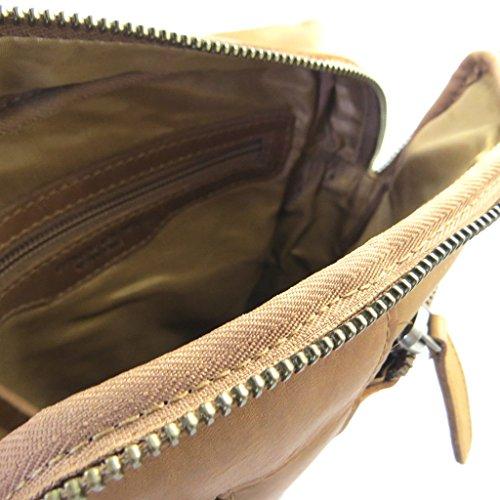 Bolsa de cuero 'Gianni Conti'vendimia marrón coñac - 27x21.5x5 cm.