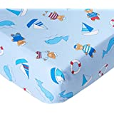 Francois et Mimi 100% Cotton Standard 2 Piece Crib Sheet Set for Boys, Fitted Sheets