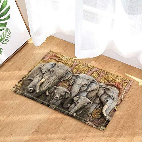 Decoración animal elefante manada de elefantes maderas Alfombra de baño puerta antideslizante...
