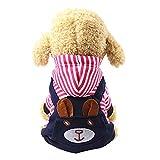 FJROnline Kapuzenpullover für Hunde, Bärenmotiv, Rot gestreift