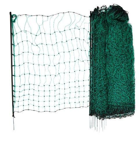 Geflügelnetz 50 m 112 cm Einzelspitz grün ohne Strom inkl. 15 Kunststoffpfähle