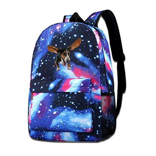 dsgsd Schultasche Funny Basset Hound Dog Starry Sky Book Bag Quality Big Galaxy Backpack -