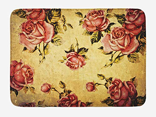 RAINNY Rose Bath Mat, Old Fashioned Victorian Style Rose Pattern with Dramatic Color Boho Art Design, Plush Bathroom Decor Mat with Non Slip Backing, 15.7X23.6 inch, Cream Pink Green - Victorian Rose Bath