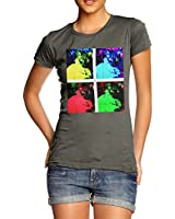 Twisted Envy Women's Pop art Cats 100% Cotton T-Shirt