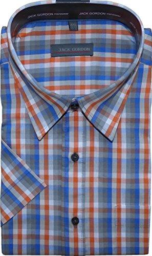 Herren Hemd von Jack Gorden Kurzarm Karo Kentkragen auch Übergrößen Karo-hell-Blau/Orange