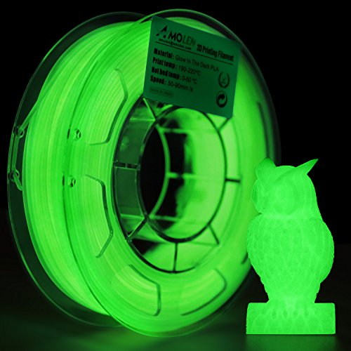AMOLEN 3D Drucker Filament Glow in the Dark Grün, PLA Filament 1.75mm 200G(0.44lb),+/- 0.03 mm 3D Drucker Materialien, enthält Proben Glänzendes Lila Filament. (Glow In The Dark-licht-lampe)