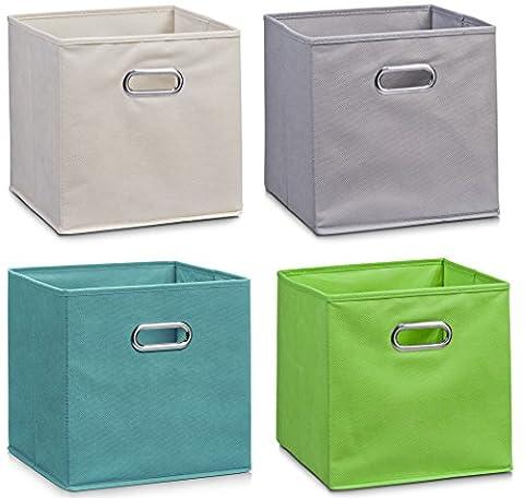 Zeller Vlies Aufbewahrungs-Box 4er Set 28 x 28 x 28 cm, farbig, faltbare Regal-Boxen Ordnungs-Boxen Regal-Korb quadratisch; 4teilig - je 1 Stück pro
