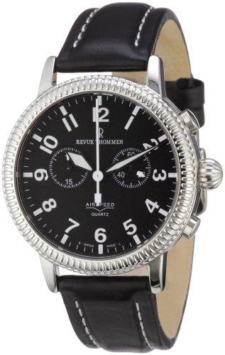 Revue Thommen 17020.9537 - Reloj cronógrafo de cuarzo para hombre con correa de piel, color negro