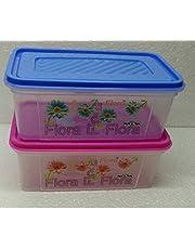 Nayasa Trendy Bread Box - 2000 ml Plastic Food (Pack of 2, Blue & Pink) (2.00)