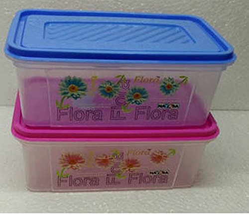 Nayasa Trendy Bread Box – 2000 ml Plastic Food (Pack of 2, Blue & Pink) (2.00)