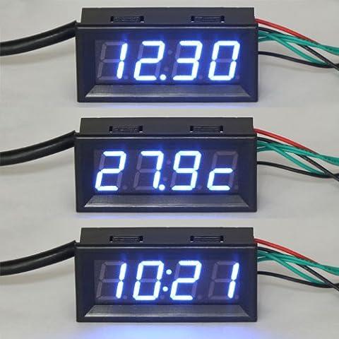 """DEOK 0,56"""" MCU Zeit + Temperatur + Spannung zu messen Meter Blaue LED-Digitalanzeigen Uhr/Thermometer/Voltmeter"""