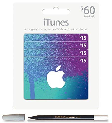Bundle: iTunes $60Pack (4x $15) Prepaid Geschenk Karte und Schneemann Bleistift Marker (Geschenk-karte E-mail-lieferung)