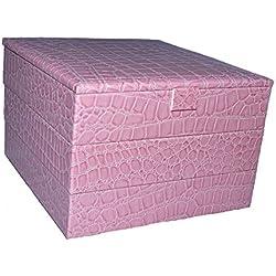 Joyero de Piel Sintética, color rosa