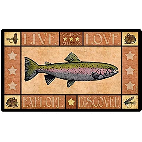 Lodge Series Rainbow Trout Tempered Glass Cutting Board by American Expedition
