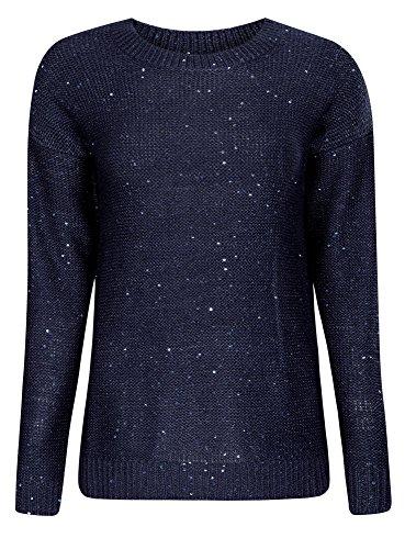 oodji Ultra Damen Gerader Pullover mit Pailletten Blau (7900X)