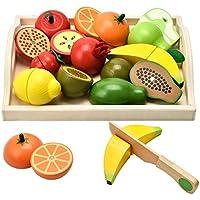 CARLORBO Juguetes de Madera Pretienden a Jugar Alimentos para niños Cocina, Juego de rol magnético Frutas y Verduras Juguetes educativos para niños y niñas de 2 años