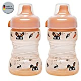 NIP Trainer Cup 260 ml // 2er Set Boy & Girl Uni // ab 9 Monate // auslaufsicherer, fester Trinkschnabel // BPA frei, made in Germany //