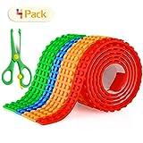 4 Pack Baustein Klebeband, Fansteck Lego Klebeband, 2 x 3.2cm Rollen und 2 x 1.6cm Rollen, Selbstklebendes und Wiederverwendbares Silicon Building Block Tape, in Rot Blau Orange Grün -