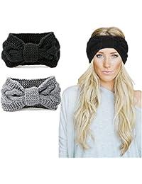 3ad83108cfee8b KQueenStar Damen Gestrickt Stirnband -3 Stück Häkelarbeit Schleife Headwrap  Design Stirnband Winter Kopfband Haarband Headwrap Ohr…