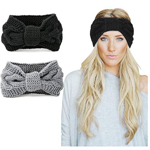KQueenStar Damen Gestrickt Stirnband - 2 Stück Häkelarbeit Schleife Headwrap Design Stirnband Winter Kopfband Haarband Headwrap Ohr Wärmer (Schwarz + Grau) - 2 Stück Stirnband
