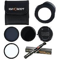 49mm UV CPL ND4 - K&F Concept® Packs de Filtros UV Protector Filtro Polarizador Filtro de Densidad Neutra para Nikon D5300 D5200 D5100 D3300 D3200 D3100 DSLR Cámaras + Parasol + Centro Pinch Tapa del objetivo + Pluma de Limpieza