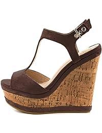 dc9cb02ecd5a44 Lutalica Frauen Sexy Wildleder Extreme hohe Plattform Knöchelriemen  Keilabsatz Sandalen Schuhe