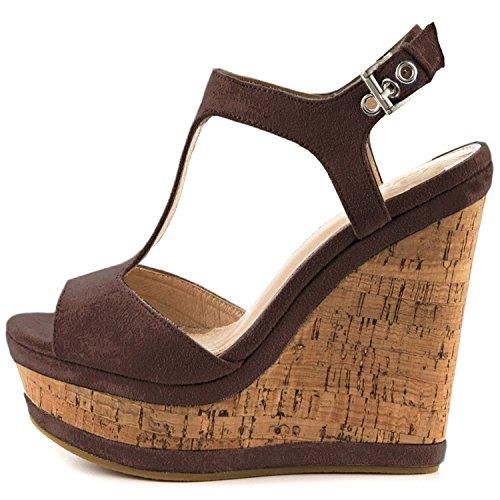 Lutalica Frauen Sexy Wildleder Extreme hohe Plattform Knöchelriemen Keilabsatz Sandalen Schuhe Braun Größe 41 EU Peep Toe T-bar