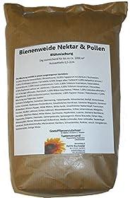 Bienenweide Nektar & Pollen Blühmischung 1kg ausreichend für bis zu ca. 1000 m², Aussaattiefe 0,5-2cm. Die Mischung enthält in einem ausgewogenen Verhältnis: ca. Anteil 25,00% Phacelia tanacetifolia / Bienenfreund24,00% Fagopyrum esculen...