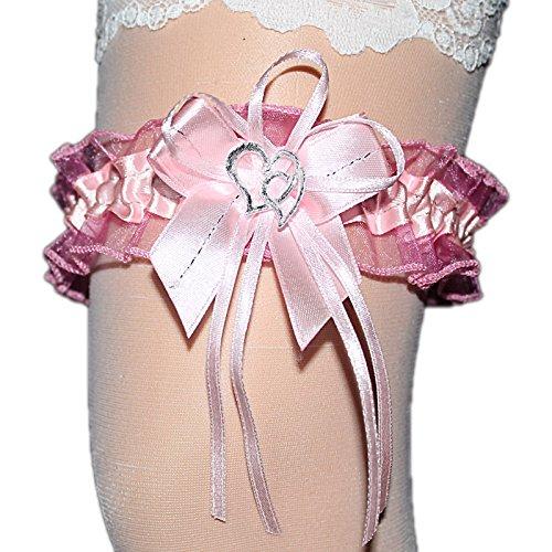 Unbekannt Strumpfband Braut mit Schleife Herzchen Silbernaht Farben viele Farben Hochzeit Neu Strumpfbänder (bis 60 cm, rosa)