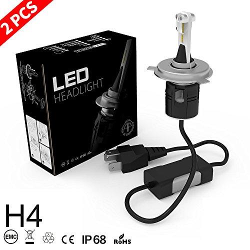 H4 LED Faros, Aaiwa LED Faros Delanteros 8000LM 60W 6500K Blanco Kit de Conversión de Bombillas LED para Faros de Coche, 2años garantía