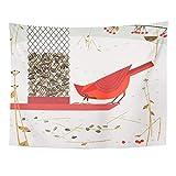 AOCCK Tapisseries Wall Hanging Cute Red Northern Cardinal Bird Comic Flat Cartoon Minimalism Simplicity Winter 60'x 80' Home Decor Art Tapestries for Bedroom Living Room Dorm Apartment