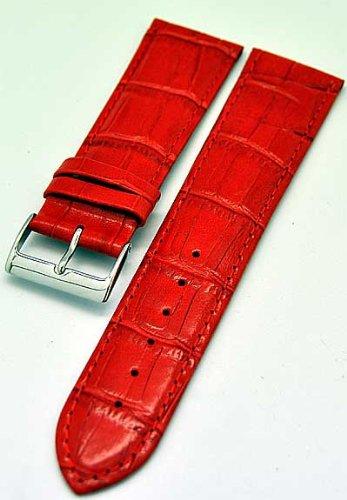 Uhrenarmband Kalbleder ROT 28mm mit Alligator-Struktur 3931