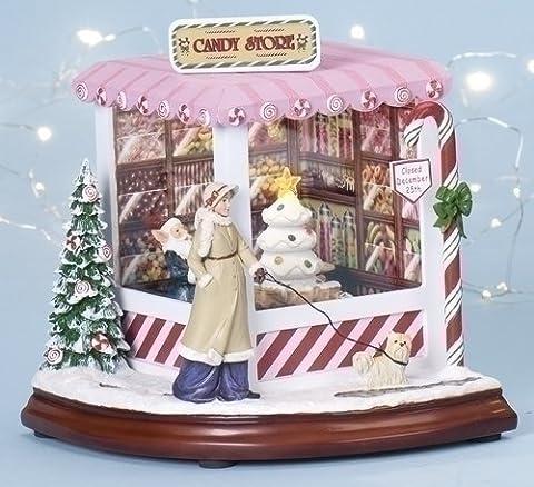 Christmas Candy Store Light Up Animated Music Box Roman Amusements 34402 New by Roman