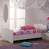 Jugendbett 90 * 200 cm weiß Made in Germany Mädchen Jugendzimmer Kinderzimmer Jugendliege Kinderbett Bettliege Bett Bettgestell Holzbett