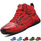 LANSEYAOJI Basketball Schuhe Turnschuhe Kinderschuhe Sportschuhe Jungen High-Top Outdoor LaufeSchuhe Sneaker Unisex-Kinder Atmungsaktiv Anti-Rutsch Trainers Running Shoes,Rot,EU38
