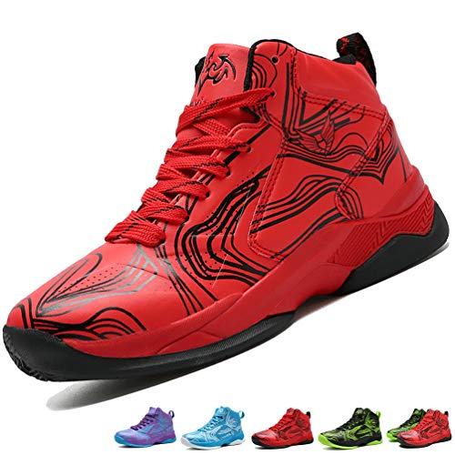 LANSEYAOJI Bambini Sportive Scarpe da Basket Ragazzi Hi-Top Moda Scarpe da Ginnastica Antiscivolo Outdoor Scarpe da Corsa Scarpe da Sport Casual Lace Up Scarpe da Running,Rosso,EU32