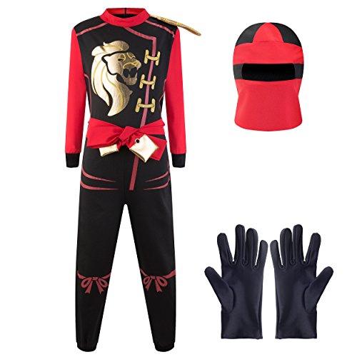 Katara 1771 - Ninja Kostüm Anzug, Kinder, Verkleidung Fasching Karneval, Größe M, Rot Schwarz (Kinder Der Drachen Ninja Kostüm)
