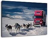 Schlittenhunde ziehen LKW Format:100x70 cm Bild auf Leinwand bespannt, riesige XXL Bilder komplett und fertig gerahmt mit Keilrahmen, Kunstdruck auf Wand Bild mit Rahmen, günstiger als Gemälde oder Bild, kein Poster oder Plakat