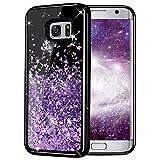 KOUYI Galaxy S7 Hülle Glitzer, Luxus Fließen Flüssig Glitzer Mode 3D Bling Dynamisch Silikon Flexible TPU Kreativ Shiny Glitter Cover Beschützer für Samsung Galaxy S7 (Lila)
