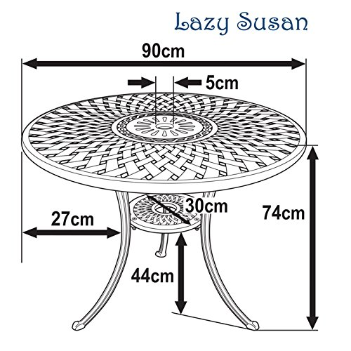 Lazy Susan - MIA 90 cm Runder Gartentisch mit 2 Stühlen