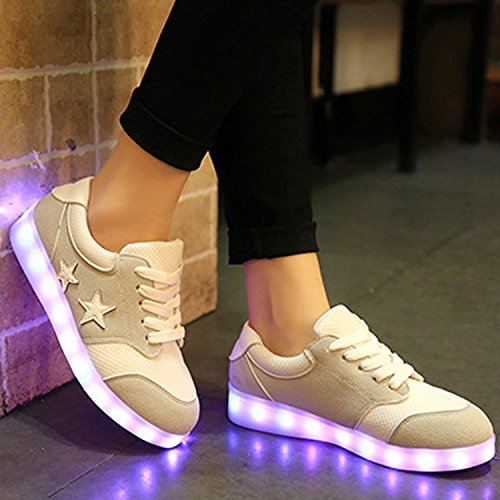 Oasap Homme Mode Sneakers USB Charger LED Talons Bas Grey