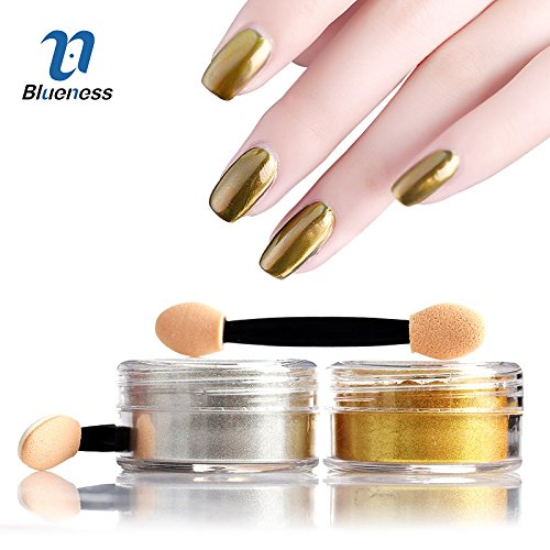 Generic Silver : 5g/Box Silver Gold Color Charms Nail Art Gel Polish Decorations Mirror Chrome Powder Pigment Glitter For Manicure DIY Dust JH420