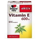 Doppelherz Vitamin E 600 N Weichkapseln – Arzneimittel pflanzlich und hochdosiert – Vitamin E zur Leistungssteigerung – 1 x 40 Kapseln